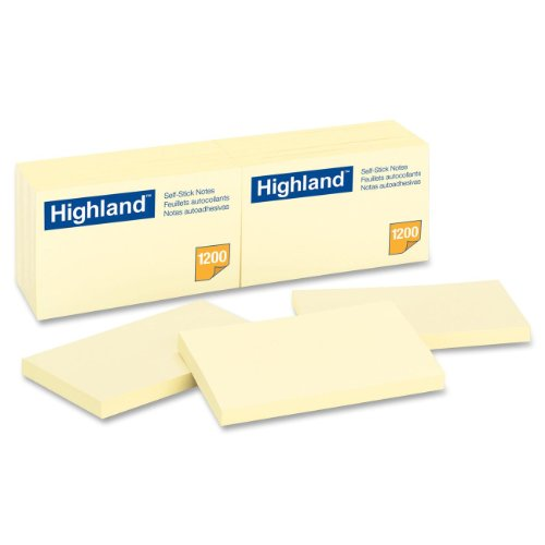Post It Removable Message Pad - Highland Notes, 3 x 5-Inches, Yellow, 100 Count, Pack of 12 (6559)