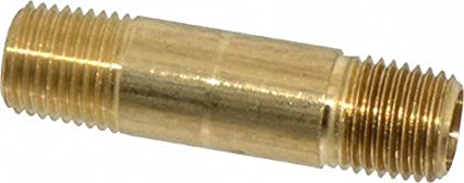 "Parker Hannifin 215PNL-8-30 Brass Long Nipple Pipe Fitting, 1/2"" Male Thread x 1/2"" Male Thread, 3"" Length"