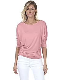 iliadusa 7001 Womens Round Neck Dolman Top 3/4 Sleeve Side Shirring
