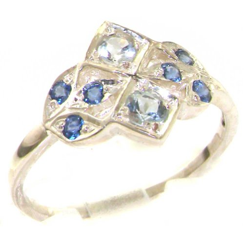 (925 Sterling Silver Natural Aquamarine and Sapphire Womens Cluster Ring - Sizes 4 to 12 Available)
