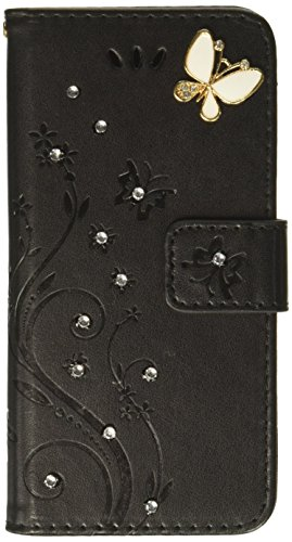 Flower Power Leather - Auroralove 023 Luxury Handmade Bling Rhinestone Soft Slim Flip Stand Wallet iPhone 6/6s 4.7 Flower Butterfly PU Leather Case for Girls Women-Black