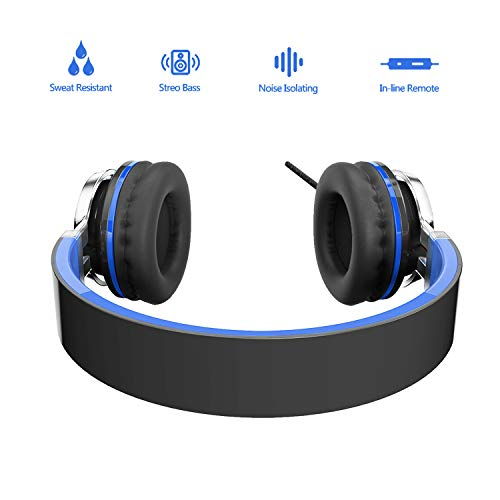 Elecder i39 Headphones with Microphone Kids Children Girls Boys Teens Foldable Adjustable Wired On Ear Headsets Compatible iPad Cellphones Computer MP3/4 Blue/Black by ELECDER (Image #2)