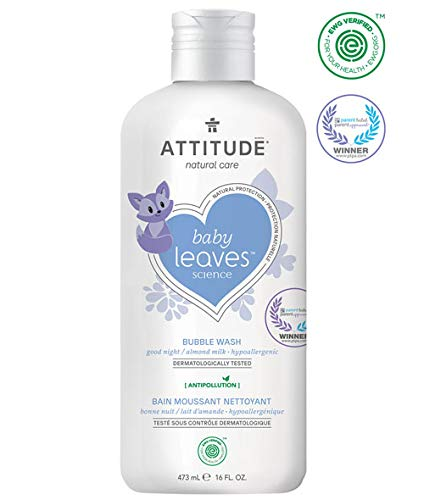 Attitude baby leaves Almond Milk Natural Bubble Wash with Blueberry Leaf Extract (Pack of 2), 16 Oz Each by Attitude