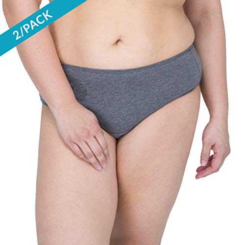 Cottonique Womens Latex-Free Waist Brief Made from 100% Organic Cotton (2/Pack   Melange)