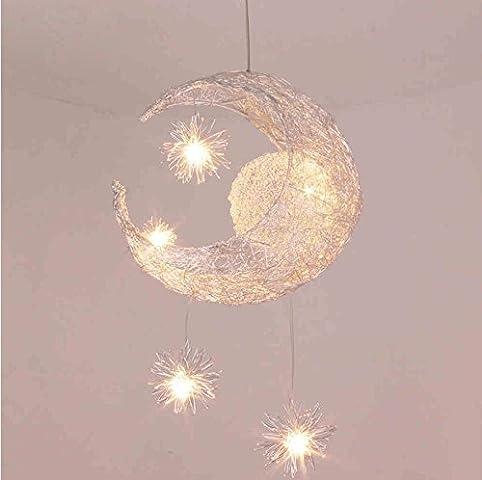 LONFENNER Creative Moon and Stars Pendelleuchte - Deckenleuchte Mond und Sterne - für Kinderzimmer - Wohnzimmer