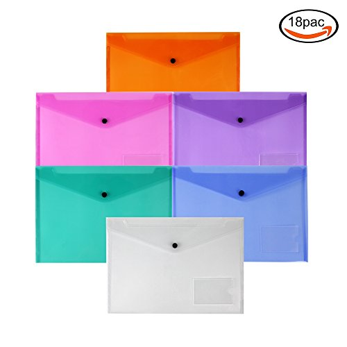 Love Envelope (LoveS Clear Document Folder with Snap Button, Premium Quality Poly Envelope, Set of 18 in 6 Assorted Colors)