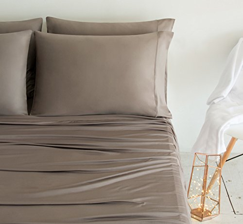 SHEEX LUXURY COPPER Pillowcases (Set of 2), Ultra-Soft, Breathable PRO+IONIC Copper Fabric for a Cool, Dry and Comfortable Night's Sleep, Taupe (King)
