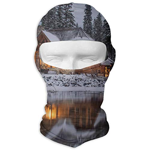 Leopoldson Winter Log Cabin Forest Landscape Balaclava UV Protection Windproof Ski Face Masks for Cycling Outdoor Sports Full Face Mask Breathable