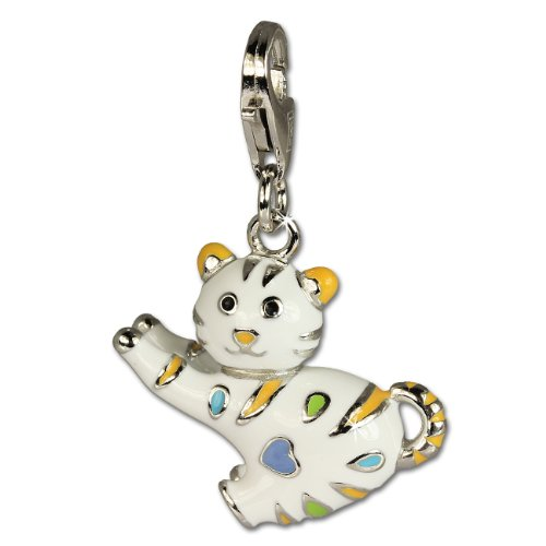SilberDream Charm funny cat enameled colored points 925 Sterling Silver Pendant Lobster Clasp FC644