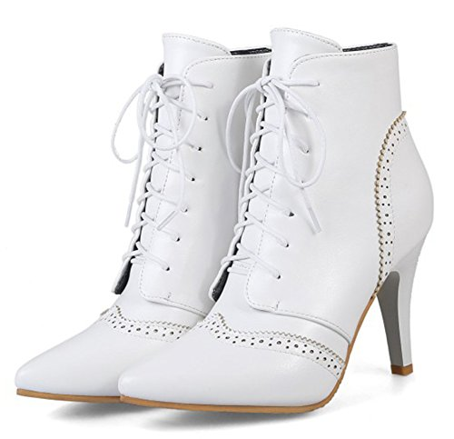 Spécial Blanc Easemax Boots Femme à Bottines Low Lacets Bout Pointu Hqwza5q