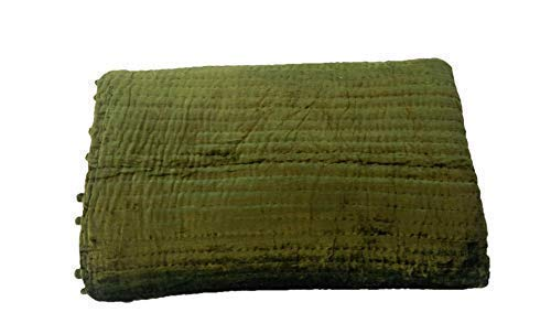 Image of Home and Kitchen Amore Beaute Handmade Velvet Quilt, Olive Green Quilt, King Size Queen Size Quilt, Lap Quilt, Twin Quilt