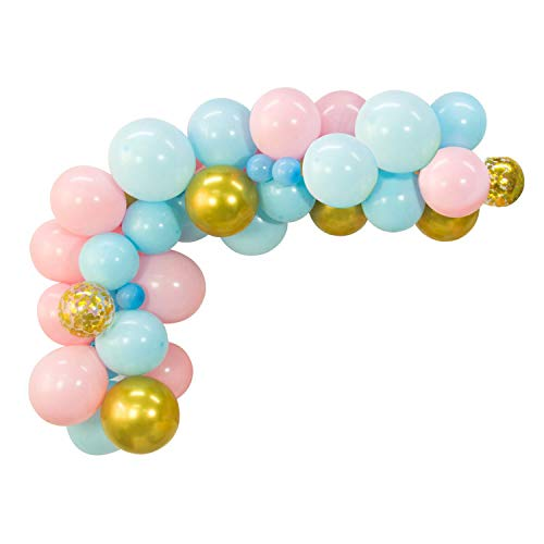 (40pcs DIY Balloons Garland with Pink, Blue Latex Balloon Gold Confetti Balloon Chrome Shiny Metallic Latex Balloons Perferct for Birthday Party Bridal Shower Baby Shower Engagement Wedding Party)