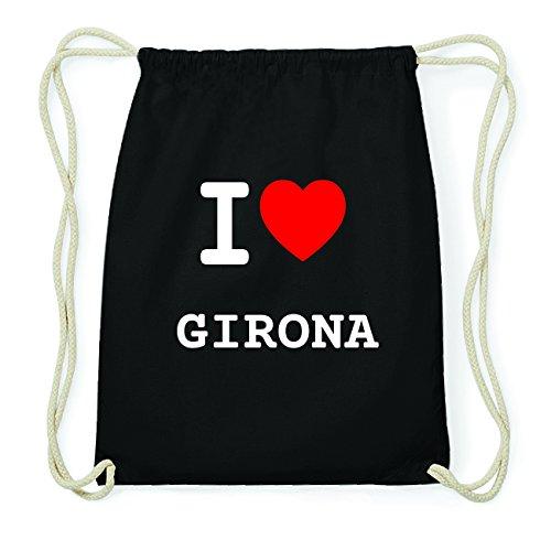 JOllify GIRONA Hipster Turnbeutel Tasche Rucksack aus Baumwolle - Farbe: schwarz Design: I love- Ich liebe