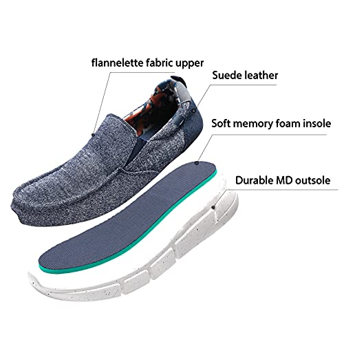 Men's Stylish Slip On Loafers Comfortable Lightweight Boat Shoes Sneaker Slip Resistant Walking Deck Shoes Rubber Sole Blue