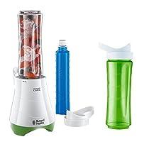 Russell Hobbs 21350-56 Kitchen Collection Mix & Go - Mini batidora, 300 W, cuchilla para hielo, incluye 2 vasos y 2 tapas, libre de BPA, color blanco y verde