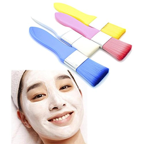Price comparison product image Ourhomer Colorful Handle Facial Face Mud Mask Mixing Brush Cosmetic Makeup Ki Cosmetics Brushes Kit Silicone Makeup Brush (White)