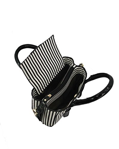 Best Ny Collection Womens Vegan Leatherette Lady Fashion Vintage Stripe Single Shoulder Canvas Top Handle Crossbody Shoulder Tote Satchel Purse Handbag By Galian New York (black White)