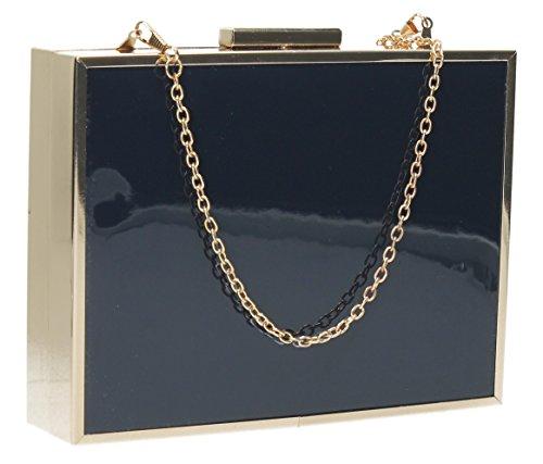 SwankySwansKate Box Patent Leather Holograph - Sacchetto donna Navy blue