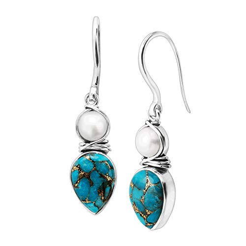 Silpada 'True Blue' 8 ct Reconstituted Copper Turquoise & 7 mm Freshwater Cultured Pearl Drop Earrings in Sterling Silver