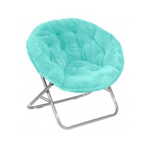 (Moon Saucer Chairs for Kids Teens Adults Faux Fur Folding Padded Portable Gaming Chair Bundle Includes 2 in 1 Stylus Pen from Designer Home (Aqua))