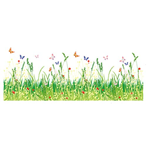 Spring Fields Grass Flowers Butterflies Skirting Line Wall Sticker Paper Home Decal Removable Wall Vinyl Living Room PVC Art Picture Murals DIY Stick for Adults Kids Nursery ()