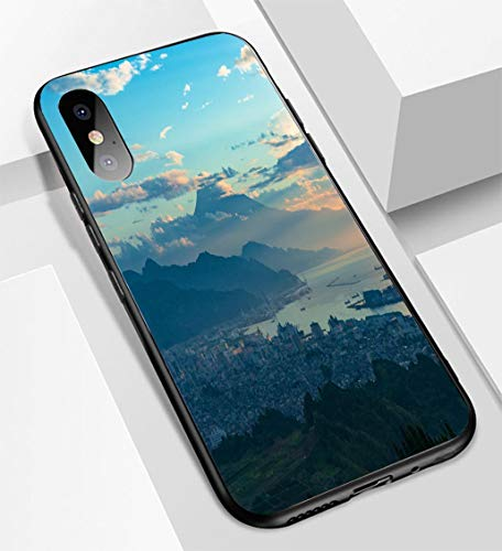 iPhone X/XS Ultra-Thin Glass Back Phone case,Aerial View of Mt Fuji and Shizuoka Coastline on Sunrise Soft and Easy to Protect The Protective case