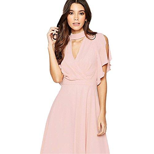 Chiffon kleider knielang rosa