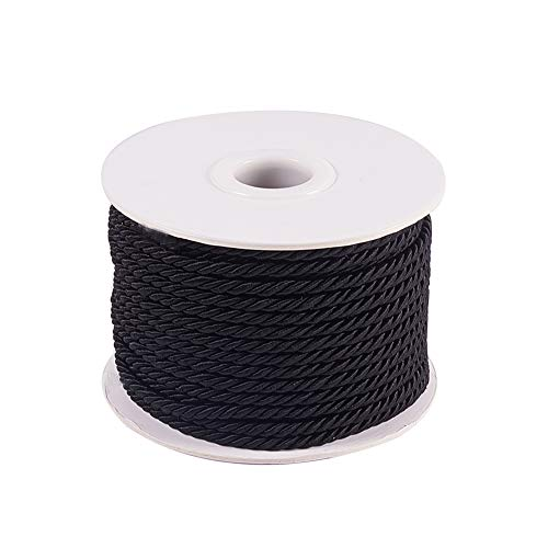PH PandaHall 3mm/ 20 Yards Twisted Cord Rope Nylon Twisted Cord Trim Thread String (Black) (3 Mm Edging)