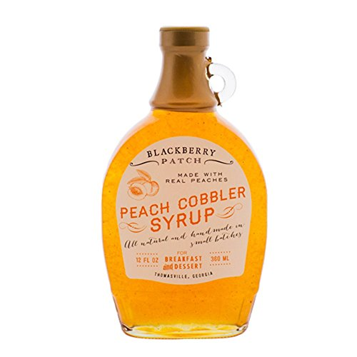 Blackberry Patch Peach Cobbler Syrup Syrups All Natural Handmade In Small Batches | For breakfast pancakes and waffles or drizzled over fresh fruit 12 fl oz (Peach Cobbler, 12 Ounce)