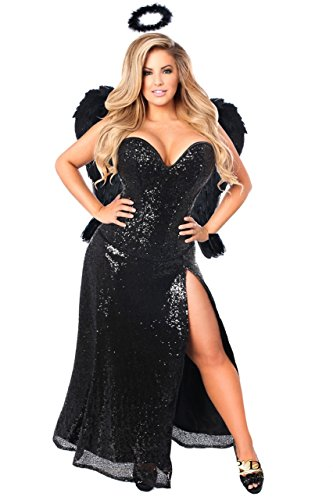 Daisy Corsets Women's Top Drawer 4 Piece Dark Angel Premium Corset Costume, Black, (Plus Size Dark Angel Costumes)
