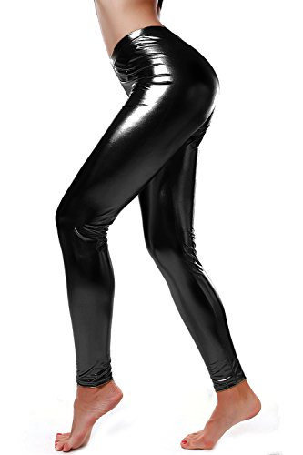 DIAMONDKIT Liquid Wet Look Shiny Metallic Stretch Leggings (L, Black)