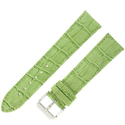 Watch Band Crocodile Grain Lime Green Padded Leather Strap Mens 24 (Green Crocodile Leather Watch)