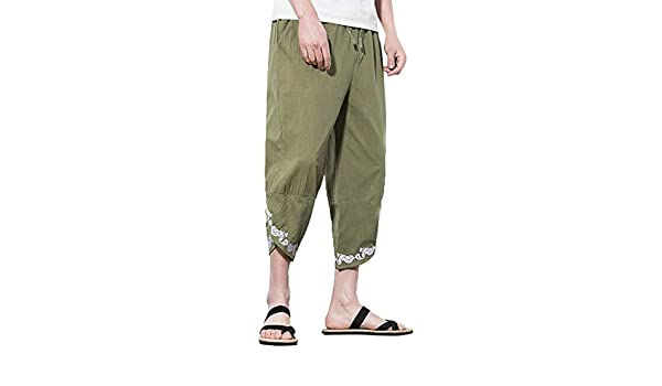 wodceeke Mens Casual Elastic Waist Solid Color Linen Wide Leg Baggy Harem Beach Pants with Drawstring