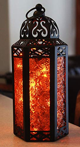 Amber Glass Moroccan Style Lantern with Optional Matching LED Fairy String -