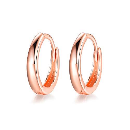 (MASOP 14K Rose Gold Plated 925 Sterling Silver Huggie Hoop Earrings Sleeper Cuff Earrings for Women)