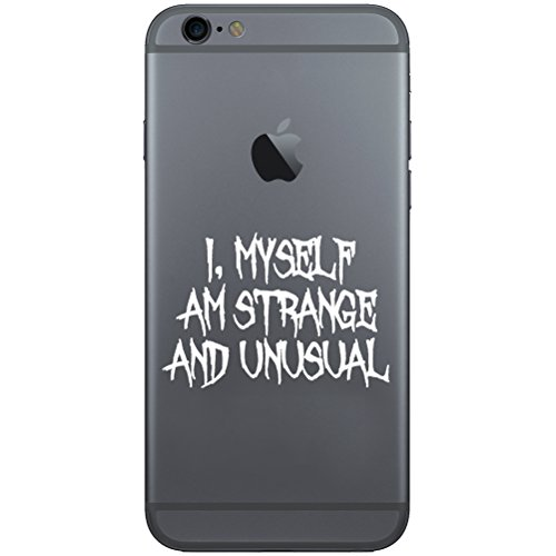 I Myself Am Strange And Unusual Halloween Beetle Juice Inspired Vinyl Cell Phone Decal for the iPhone or Android (WHITE 2