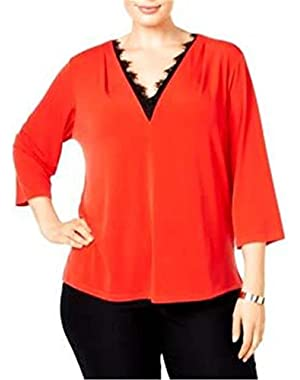 Calvin Klein Women's Plus Size Lace-Trim V-Neck Top, Size 1X