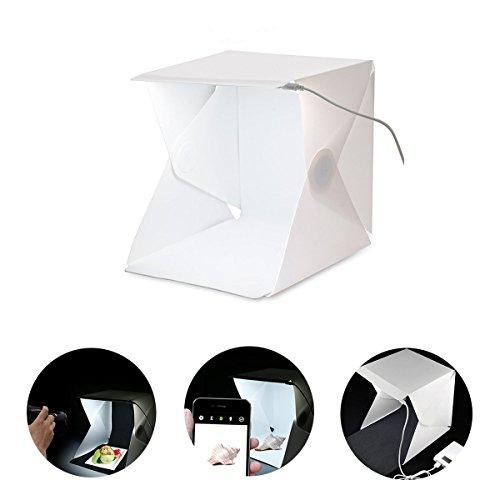 Xjamus Portable Mini Light Box Kit,Folding Photo Studio Lightbox Photography Shooting Tent Kit with LED Lights and Two - Booth Photo Setup Diy