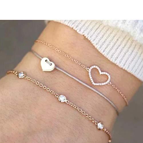 3/Sets Bohemian Bracelets for Women Multilayer Stretch Stackable Bracelet Set Multicolor Jewelry,Diamond Love Hollow Bracelet Set