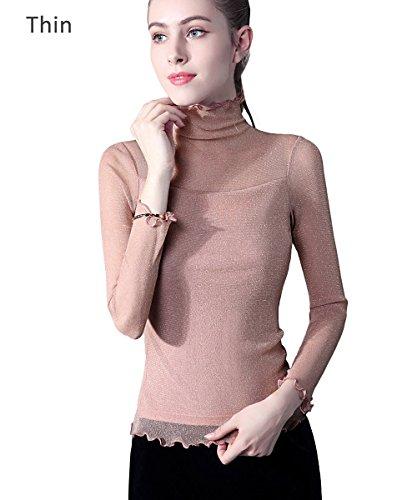 ADAMARIS Women Top High Neck Turtleneck Blouses for Women Girls Fashion 2017 On Sale Work Long Sleeve Black White Black / Aurora Pink