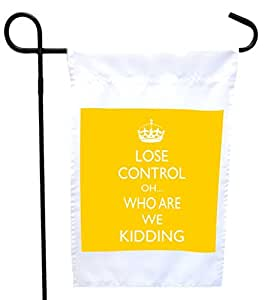 Rikki Knight Keep Calm Oh. Who Are We Kidding Yellow Color House or Garden Flag with 11 x 11-Inch Image, 12 x 18-Inch