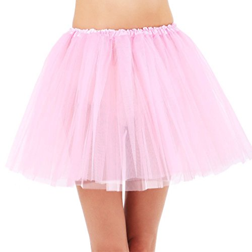 Simplicity 3 Layered Ballerina Tutu Running Costume with Stretch Waist, Pink -