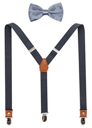 Suspenders And Pre-Tied Bowtie Set For Boys And Men By JAIFEI, Casual And Formal (Men(47 inches), Dark Grey)