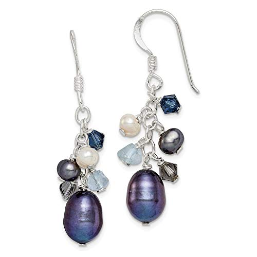 925 Sterling Silver Blue Crystal/peacock White Freshwater Cultured Pearl Drop Dangle Chandelier Earrings Fine Jewelry Gifts For Women For Her ()