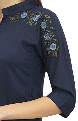 Azul La De Modal Floral Mujeres Algodón Bordada Phagun Estilo Las Marino Túnica Chic Top xqZR7UF