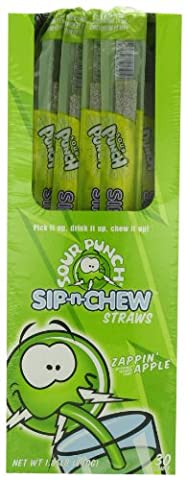 Sour Punch Sip-n-Chew Licorice Straws Apple Flavor 1 Oz Straws (Pack of 30)