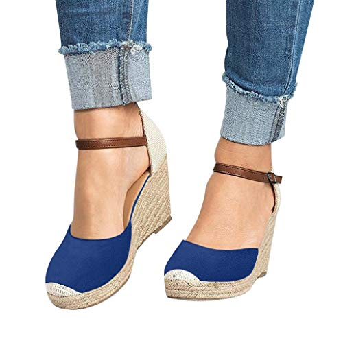 (BEAUTYVAN Womens Summer Espadrille Heel Platform Wedge Sandals Ankle Buckle Strap Closed Toe Shoes Blue)
