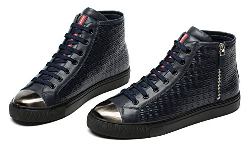 Blue Leather Casual Men's OPP Opp Sneaker Fashion High Top Shoes 47z7xvq