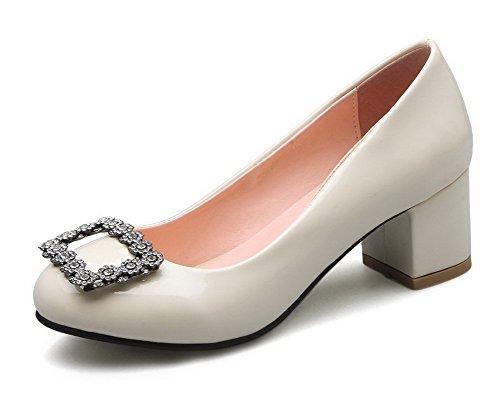 VogueZone009 Damen Rein Weiches Material Hoher Absatz Ziehen auf Pumps Schuhe, Grau, 38