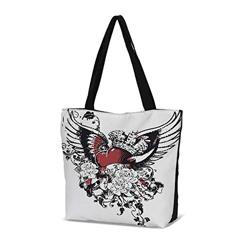 (Modern Stylish Canvas Tote Bag,Tattoo Style Heart Crown with Wings Artictic Lov)